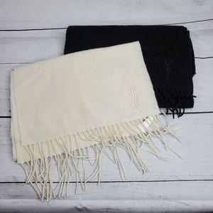 YSL NWOT Wool Cashmere Blend Fring Scarf Bundle